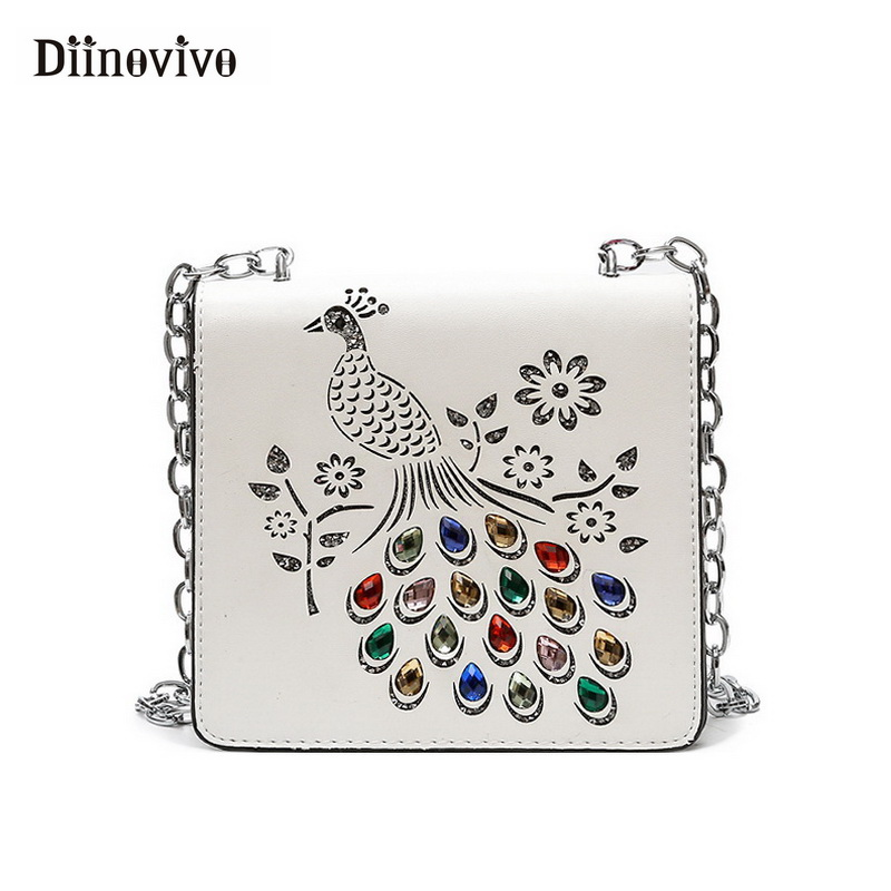 DIINOVIVO Brand Peacock Women Summer Handbags Fashion Rhinestone Shoulder Bag Small Hollow Out Flap Hand Bag Wholesale WHDV0528 ...