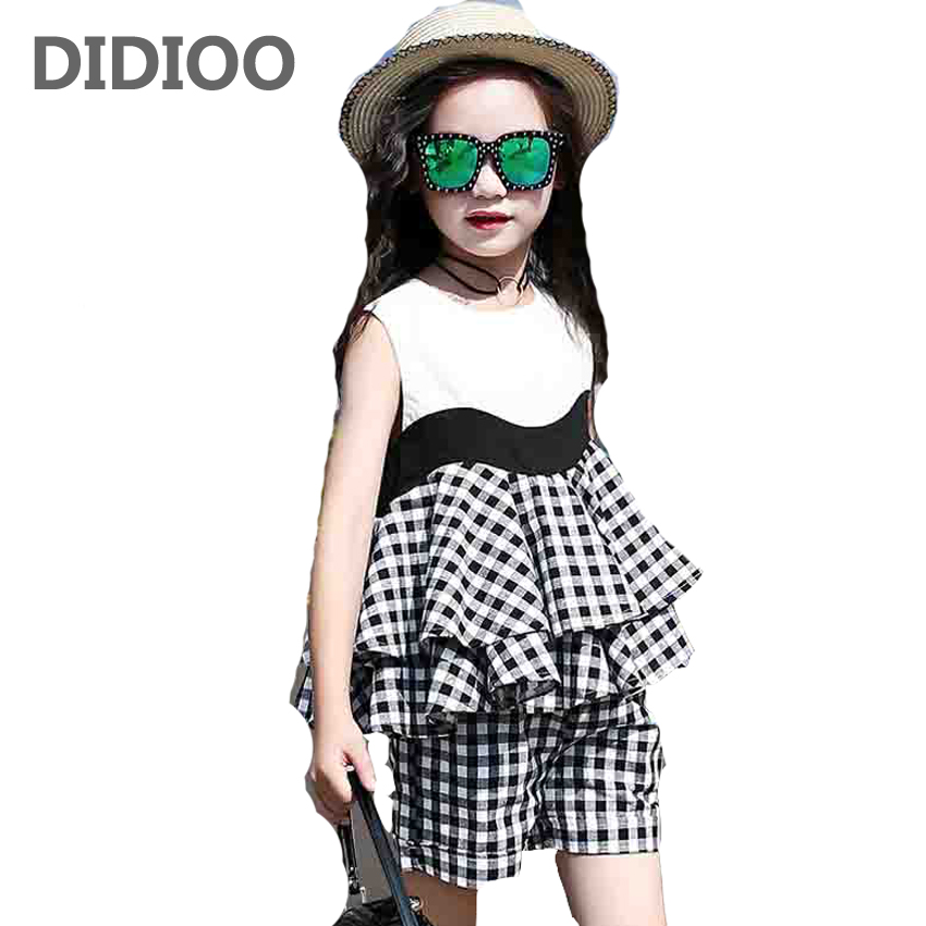 Girls Sleeveless Plaid Dresses & Shorts Suits for Child Clothing Sets Summer Girls Sundress & Short Pants Sets Kids Clothes Sets 2017 summer new children s clothing girl plaid sleeveless vest shorts two piece set 12 years old girls clothes kids child