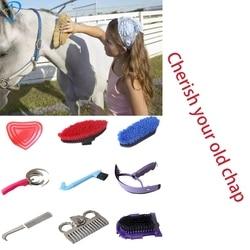 Новый 9 в 1 инструмент для чистки лошадей с набором для ухода за лошадьми набор для чистки конного оборудования набор для чистки седл инструм...