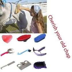 Novo 9 em 1 cavalo ferramenta de limpeza com cavalo grooming kit equestre equipamento conjunto limpeza selas equitação ferramentas limpeza