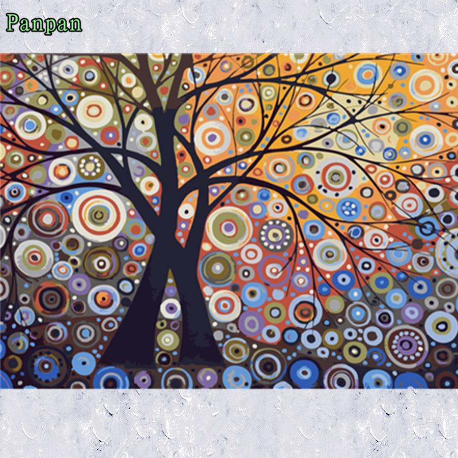 Mewarnai Dengan Nomor Digital Lukisan Minyak di atas kanvas 40 50 cm Pohon Kaya Abstrak menggambar DIY Lukisan dengan angka Hadiah natal di Painting