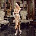 Summer New Chinese Women's Satin Long Cheongsam Dress Elegant Flower Qipao Vintage Button Dress Size S M L XL XXL XXXL C0033