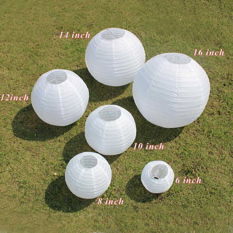 1pc Chinese Paper Lanterns 6-8-10-12-14-16 Inch for Wedding Event Party Decoration Holiday Supplies Paper Ball White Colors