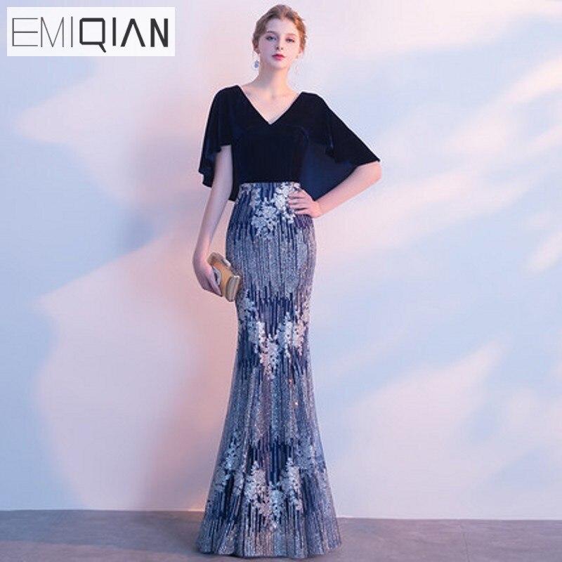 Elegent Formal Evening Gown V Neck Cap Sleeve Mermaid Long Evening Dresses