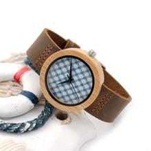 BOBOBIRD Бамбука Часы для Женщин Японии Movem не Кварцевые Часы A25 Кожаный Ремешок Ткань Циферблат Наручные Часы Бумага Подарочная Коробка Relogio