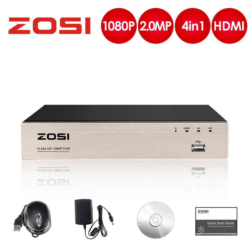 ZOSI 1080P 4CH TVI Network DVR Motion Detection Free App for CCTV Camera System 4CH 2