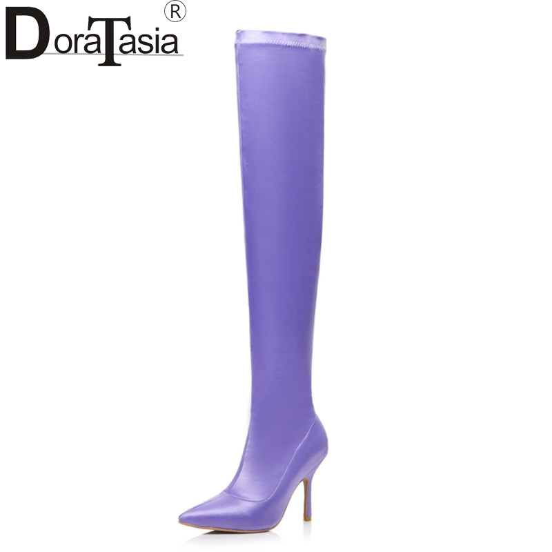 DoraTasia 2017 Brand Design Large Size 33-43 Silk Upper Women Shoes Woman Sexy Thin High Heels Over Knee Party Nightclub Boots doratasia denim eourpean style big size 33 43 pointed toe women shoes sexy thin high heel brand design lady pumps party wedding