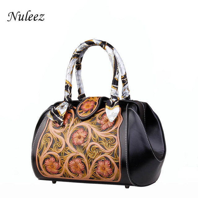 Nuleez genuine cowhide tote-bag women big capacity Chinese national style Hand carved leather colorful painting bag 2018