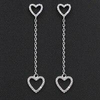 Simple Solid 925 Sterling Silver Crystal Double Heart Long Chain Drop Earrings Cubic Zirconia Ear Jewelry