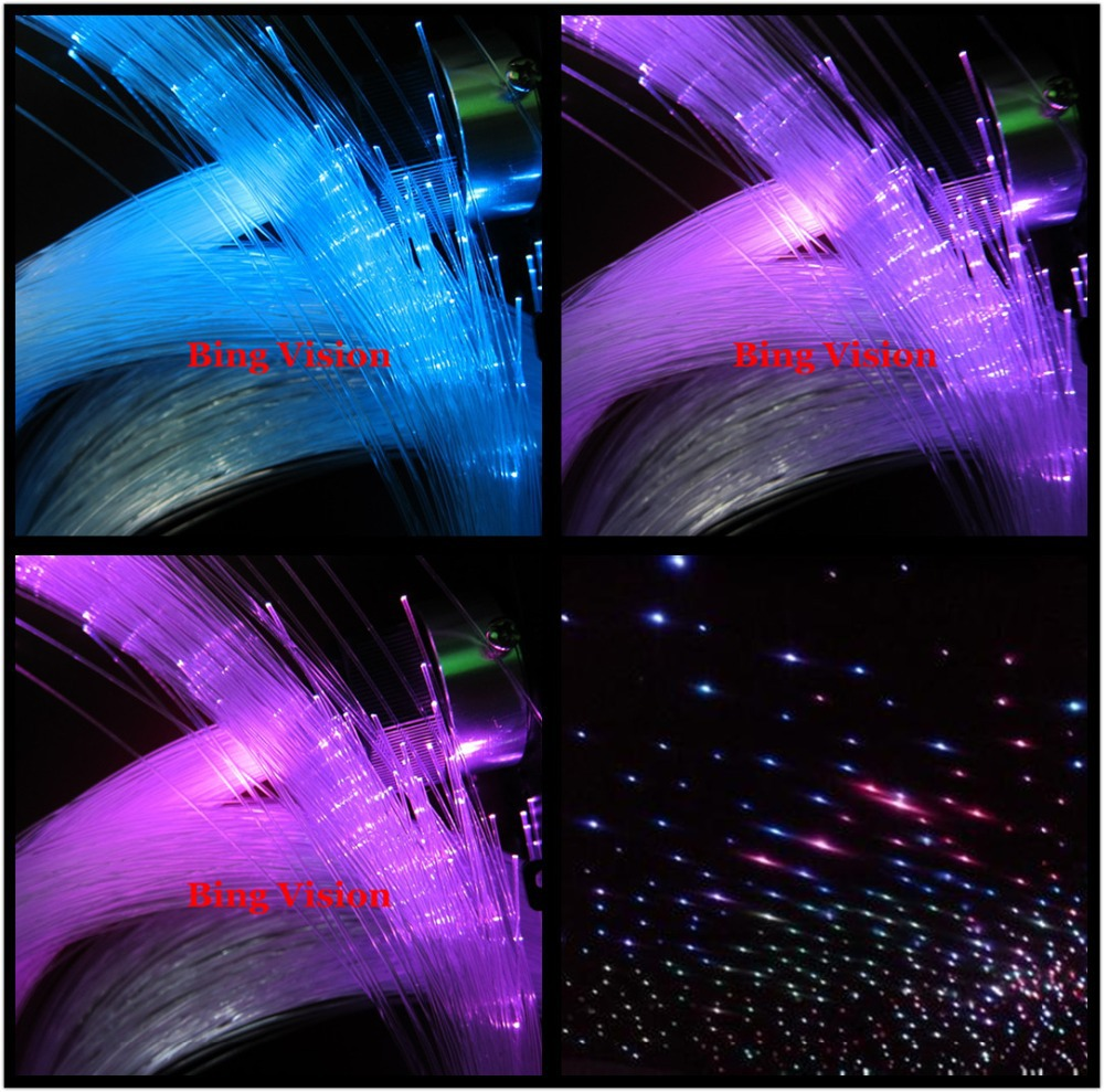PMMA  fiber optic star ceiling kit  lighting,LED RGB  light source,300 strands 0.75mm fiber   ,2 meters long  24key remote