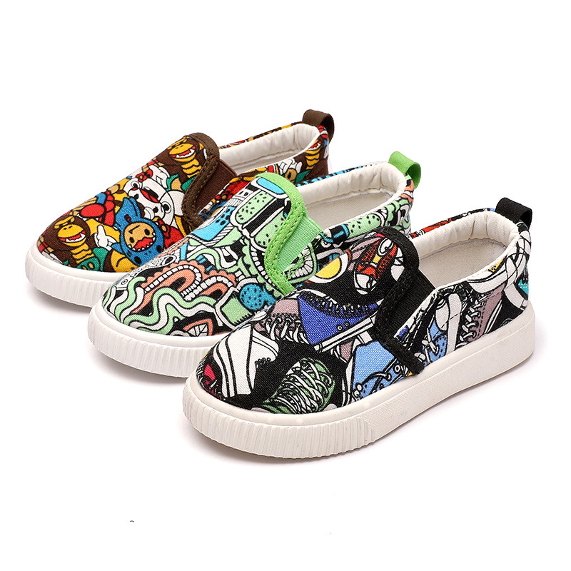 Girls Canvas Shoes Spring Cartoon Graffiti Running Sneakers Kids Girls Sport Shoes Soft Flat School Shoes Sneakers for Boys
