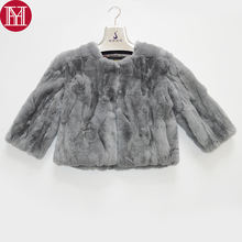 2019 New Women Winter Real Natural Rex Rabbit Fur Coat Fashion Short Style Rex Rabbit Fur Jacket Real Rex Rabbit Fur Overcoat cheap REGULAR Double-faced Fur Natural Color O-Neck Real Fur YH-07090 Nine Quarter Covered Button Solid Casual Slim Thick (Winter)