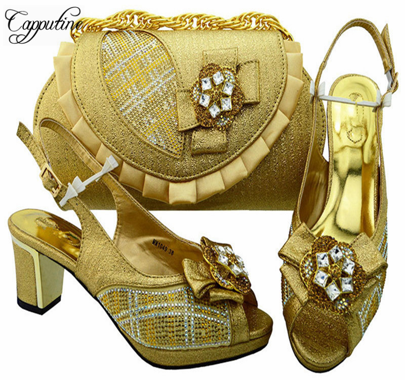 Фотография Capputine Elegant Gold Color PU Leather Italian Shoes With Matching Bags High Quality African Party Shoes And Bags Set MM1049