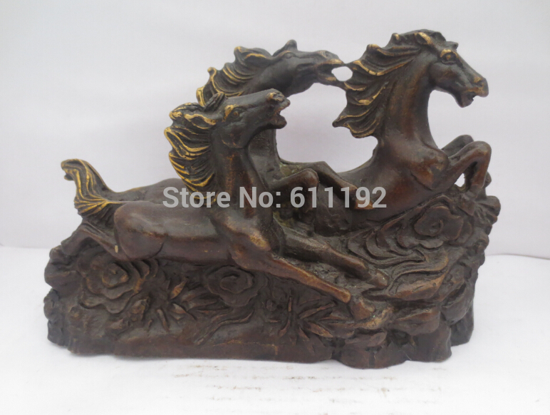 free shipping Home decoration FengShui Horse sculpture,Copper Gilt animal statue vintage Metal crafts