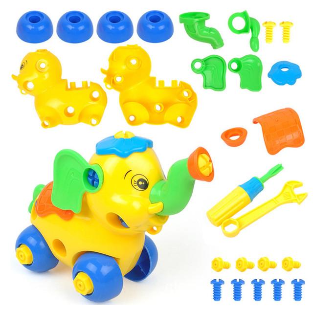 Diy Blocks Disassembly Elephant Car Toys