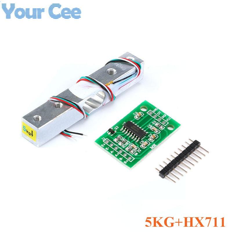 Тензодатчик 1 кг 5 кг 10 кг 20 кг HX711 AD модуль датчик веса электронные весы алюминиевый сплав взвешивания датчик давления - Цвет: 5KG and HX711