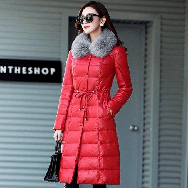 Novo inverno jaqueta parkas das mulheres de Pele De Carneiro das mulheres para baixo e parkas 980 de pato branco para baixo roupas gravidez roupas femininas
