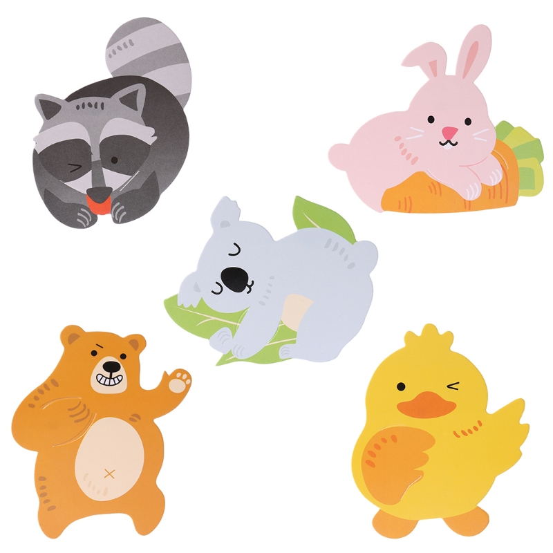50Pcs Cute Animal Duck Bear Candy Lollipop Decoration Card Kids Birthday Party Candy Gift Accessories