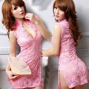 Free shipping amazing girl lace cheongsam sexy lingerie low cut with satin black tie sexy bustier tight chinese dress!!