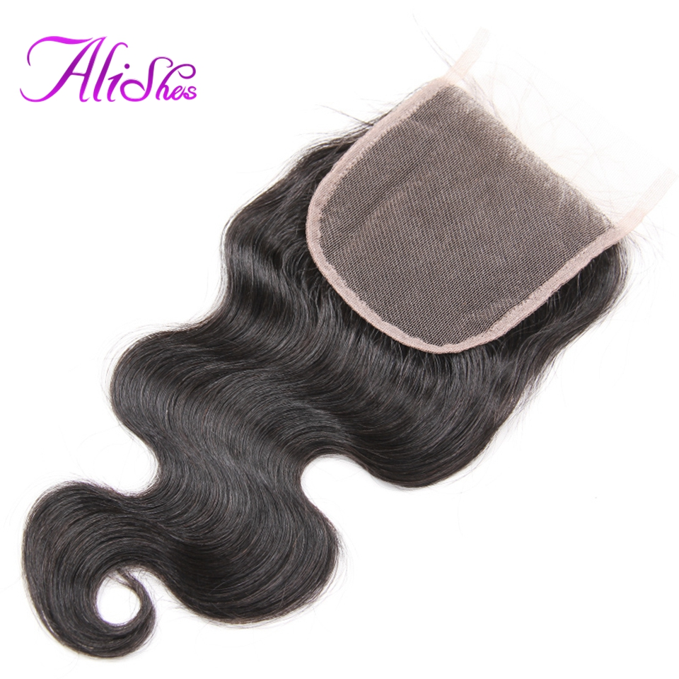 Alishes Pervuain Body Wave Cloure Free/Middle Part Human Hair Lace Closure Hand Tied Free Shipping Remy Hair Closure 10-20 Inch
