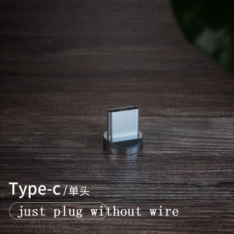 1 м Магнитный зарядный кабель для мобильного телефона, usb type C, светящийся провод для передачи данных для iphone Samaung huawei, светодиодный Micro Kable - Цвет: only type-c plug