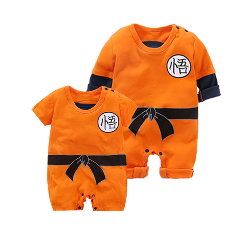 YiErYing Baby Clothing Baby Rompers 100% Cotton Dragon Ball Sun Goku Long And Short Sleeve Baby Jumpsuits Baby Boy Girl Clothes(China)