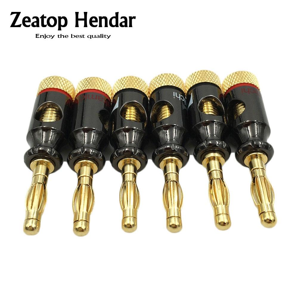 8 pces nakamichi 4mm banana plug tipo espiral 24 k parafuso de ouro estéreo alto falante adaptador terminal de cobre de áudio conector eletrônicoconnector pcbterminal converterconnector for coaxial cable -