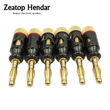 Conector electrónico Nakamichi 4mm, conector tipo espiral, 24K, tornillo dorado, adaptador de Terminal de cobre y Audio, 8 Uds.