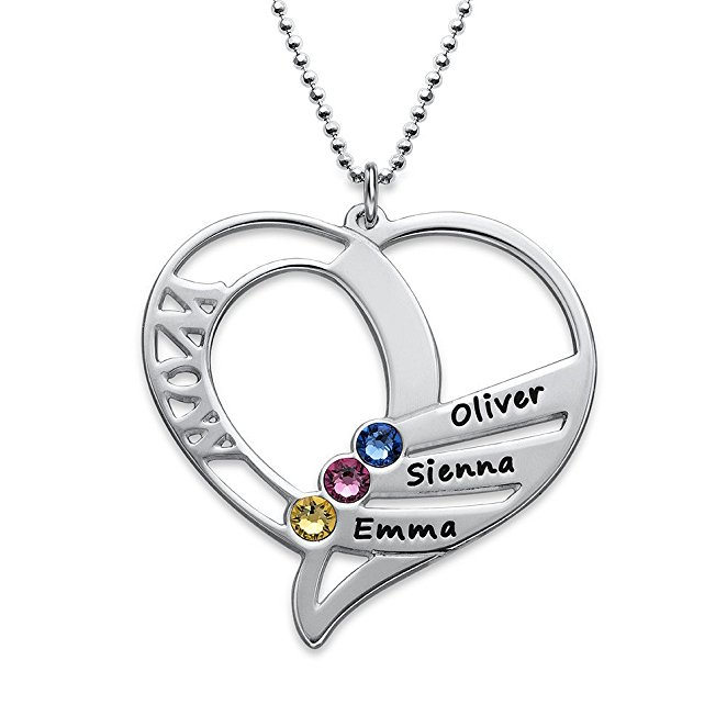 Hollw Heart Necklace 2018 Birthstone Necklaces Jewelry Best Birthday Gift Can Custom Made Any Name YP2997 (DropShipping)