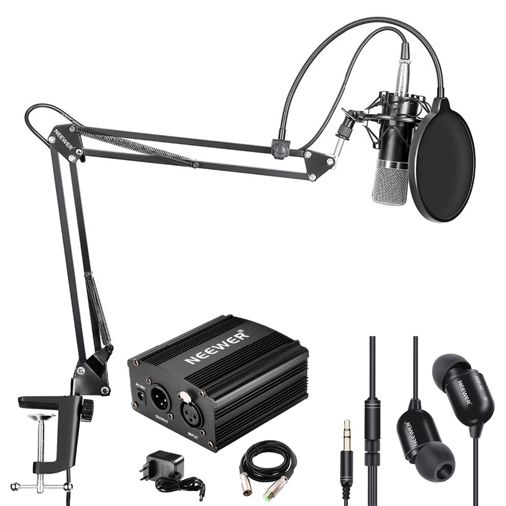 Neewer NW-700 Condenser Microphone and Monitor Earphone Kit Includes 48V Phantom Power Supply/NW-35 Boom Scissor Arm StandNeewer NW-700 Condenser Microphone and Monitor Earphone Kit Includes 48V Phantom Power Supply/NW-35 Boom Scissor Arm Stand