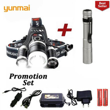 2019 NEW yunmai 3 T6 9000LM XM- LED Headlamp Headlight light Head Lamp frontal Flashlight torch for battery AC charger