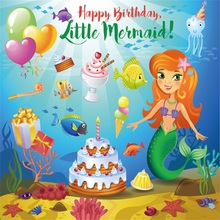 Laeacco Cartoon Little Mermaid Birthday Party Baby Children Photography Backgrounds Photographic Backdrops For Home Photo Studio