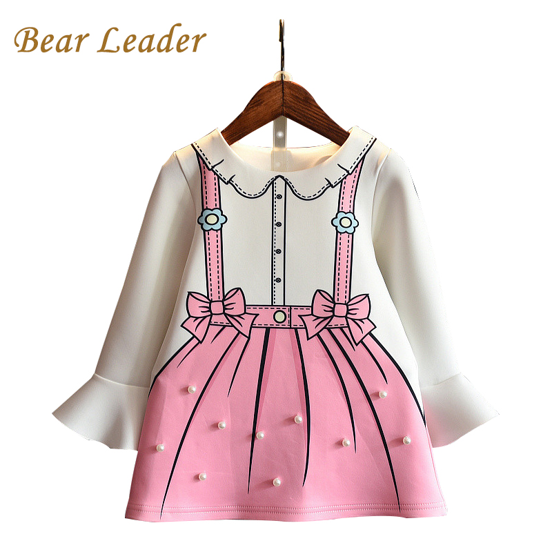 Bear Leader Girls Dress 2017 New Autumn Princess Dresses Children Clothing Flare Sleeve Bow Printing Design for Girls Clothes lg