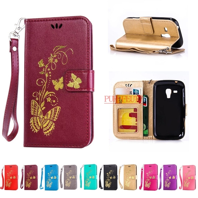 Flip Leather Case For Coque Samsung Galaxy Trend S7560 GT-S7560 / S Duos S7562 GT-S7562 Trend Plus S7580 S7572 GT-S7580 GT-S7582