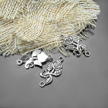 (20603)20PCS 25x12MM Antique Silver Zinc Alloy Rose Connect Charms Diy Jewelry Findings Accessories Wholesale