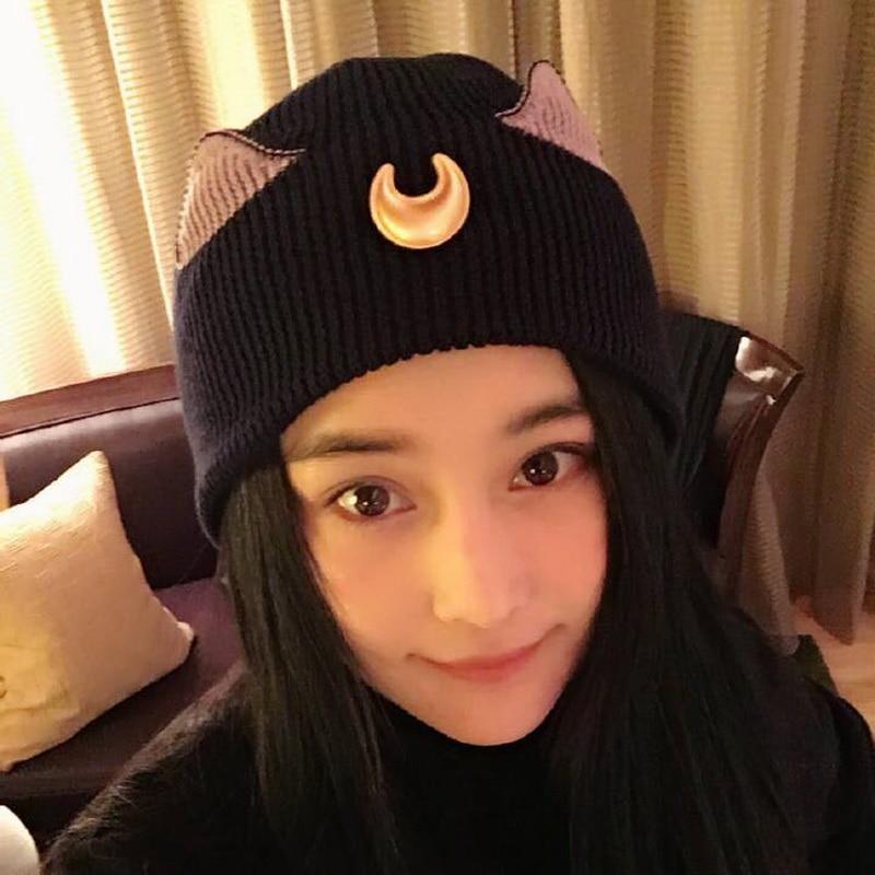 Autumn and winter Cosplay Anime Sailor Moon Luna Cat Tsukino Usagi  baseball hat Skullies Beanies