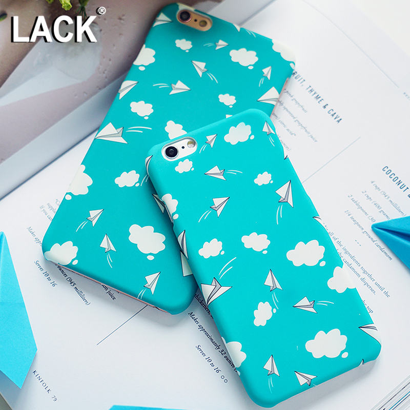 LACK Lovely Cartoon Blue Sky White Clouds Painting Case For iphone 6 Case Hard PC Frosted Cover Phone Cases For iphone 6S 7 Plus