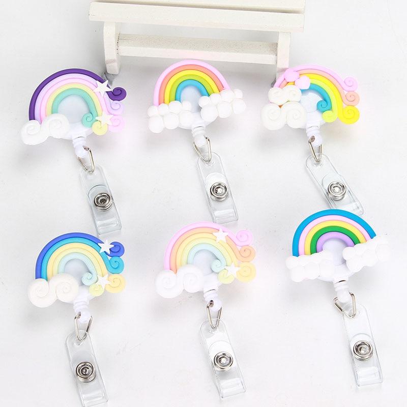 New Rainbow Nurse Retractable Badge Reel Pull Badge Holder Belt Clip Hospital School Office K074 стоимость
