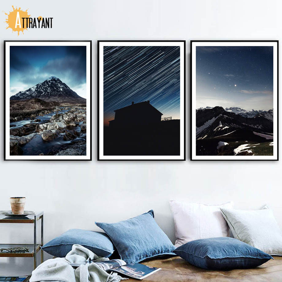 ATTRAYANT Mountain Meteor shower Canvas Painting Posters And Prints Landscape Wall Art Wall Pictures For Living Room Decoration