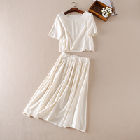Summer Women Suits Prairie Chic Solid Color O Neck Pullover Short Sleeve Tops Skirts 2 Piece