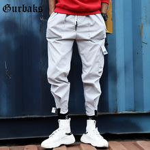 Outdoor 2019 elastic waist drawstring hip hop harem teenagers pants men cargo overalls trekking multi pocket camping trousers epaulet design multi pocket drawstring waist jacket