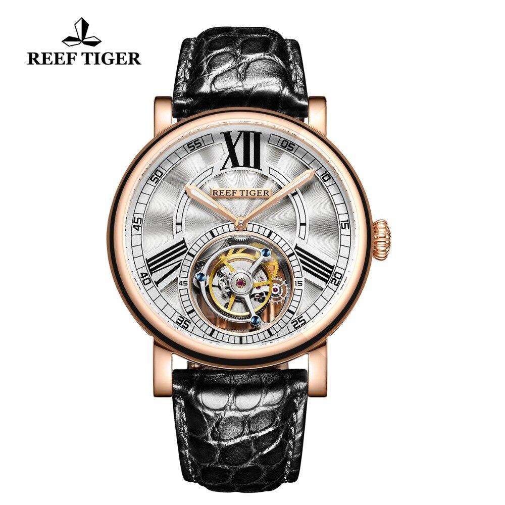 Récif Tiger/RT décontracté décontractée pour hommes montres de luxe en or Rose montre automatique Tourbillon avec bracelet Alligator RGA1999