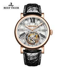 Reef Tiger/RT Casual Designer Watch for Men Luxury Rose Gold Watches  Tourbillon Automatic Watch with Alligator Strap RGA1999