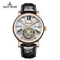 Reloj de diseño Casual Reef Tiger/RT para hombre, relojes de lujo de oro rosa, reloj automático Tourbillon con correa de cocodrilo RGA1999