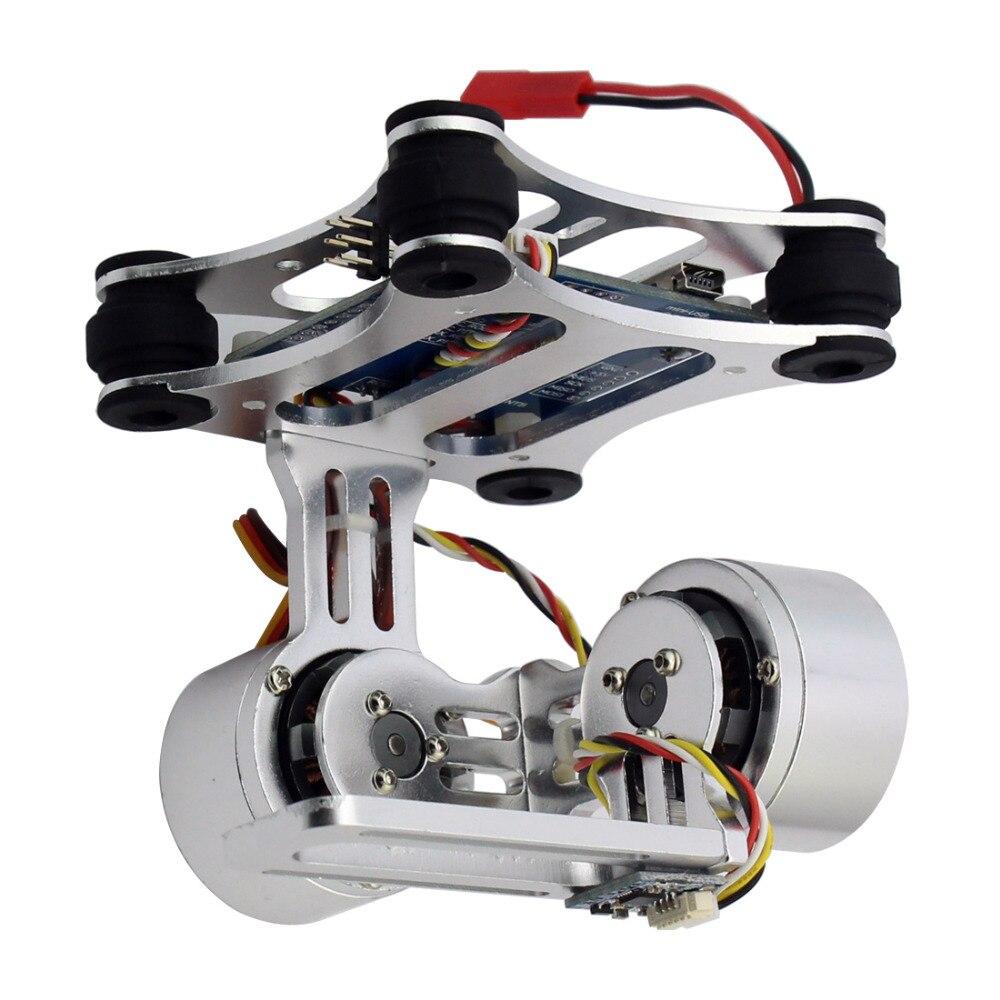 Prise de contrôleur de montage de caméra à cardan sans balai à 2 axes en aluminium pour Gopro 3 3 + caméra pour hélicoptère Drone DJI Phantom Trex 500/550