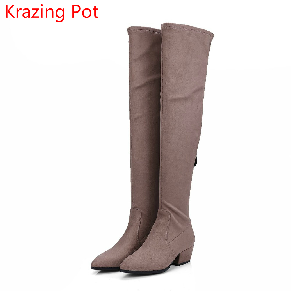 Fashion Winter Shoes Sheep Suede Long Legs Thigh High Boots Square Thick Heels Zipper Handmade Superstar Over-the-knee Boots L25 2018 new fashion winter thigh high boots green patchwork suede flats over the knee boots cowboy vintage long shoes narrow band