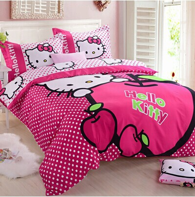 Free Shipping Hello kitty twin queen king size bedding set 100