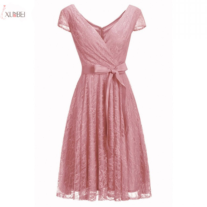 Elegant 2019 Pink Lace Short   Prom     Dresses   V Neck Short Sleeve   Prom   Gown Vestidos de festa