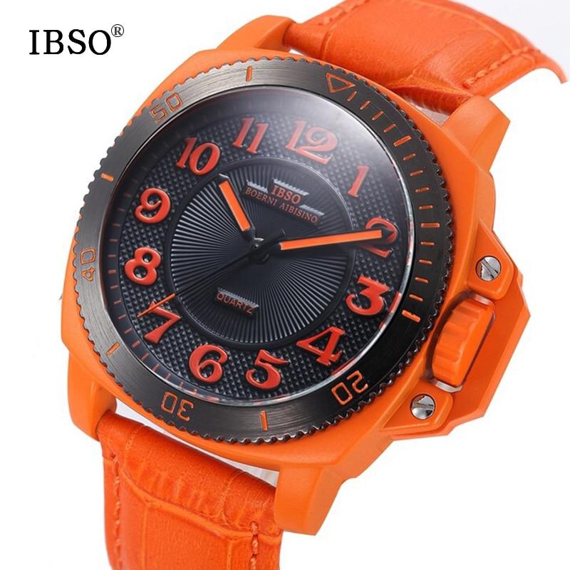 IBSO 브랜드 패션 스포츠 시계 남자 진짜 가죽 밴드 - 남성 시계 - 사진 3