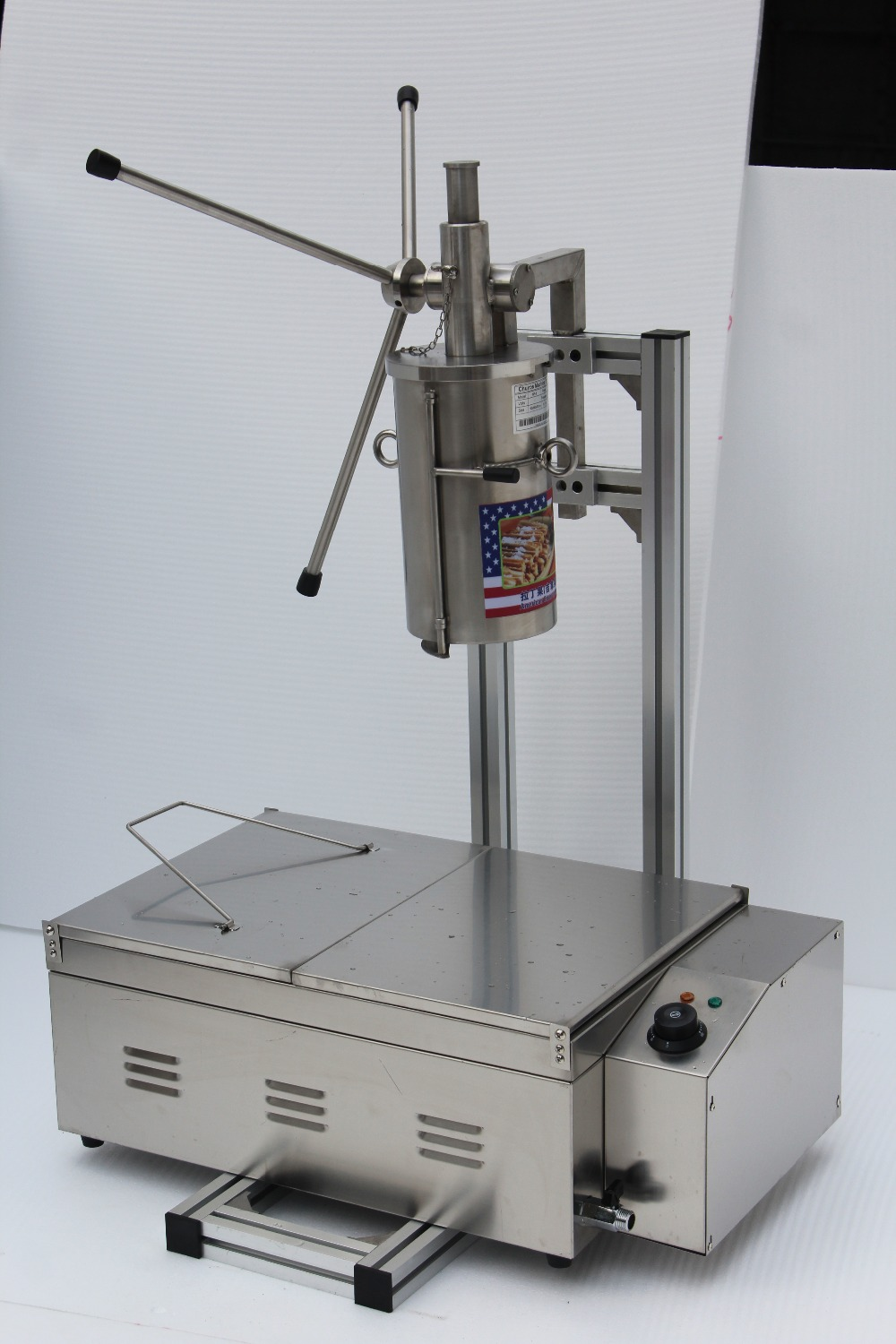 CE certificate stainless steel 5L churros making machine with cutter +25L electric fryer commercial stainless steel churro machine 25l electric fryer manual spanish churros maker 4 nozzles